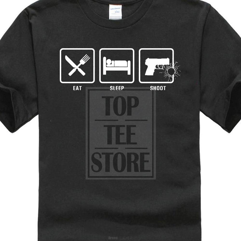 Tee Shirt O Neck Premium Short Sleeve Eat Sleep Shoot Nra Guns Gun Pistol Conceal Carry 2Nd Ammendment T Shirt Tee
