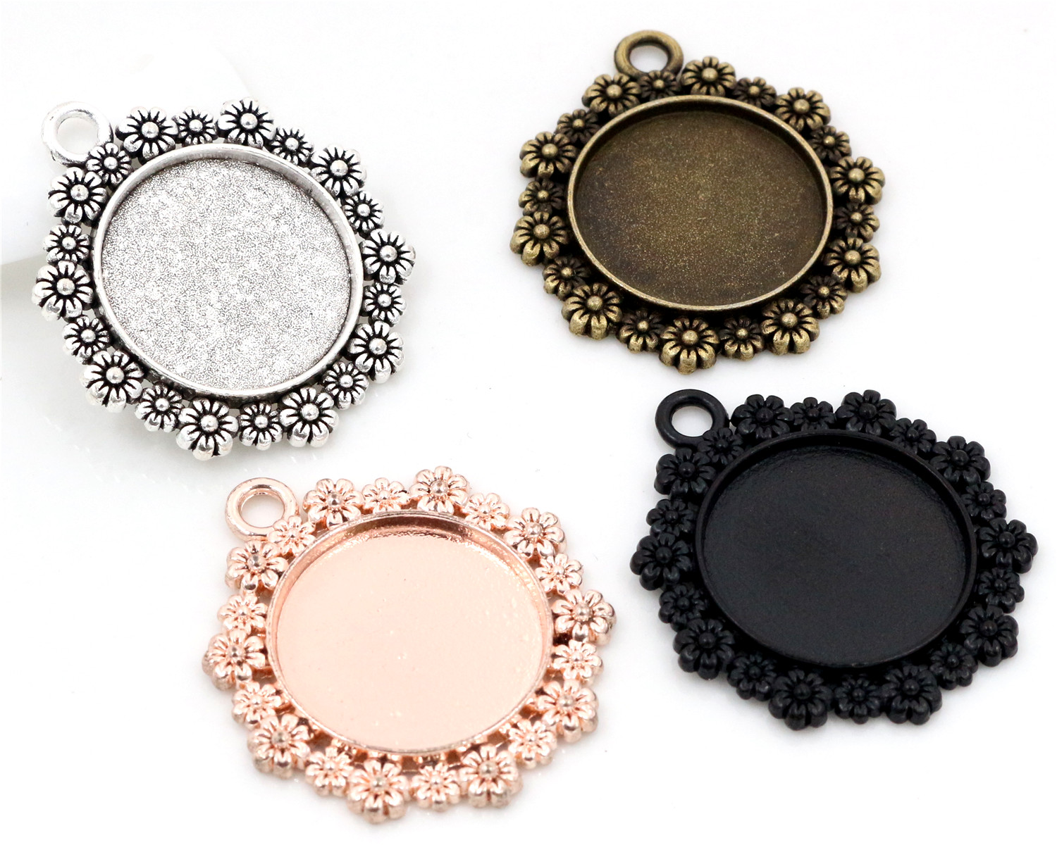 Pendant-Tray Charms Base-Setting Cabochon Flower-Style Classic 4-Colors-Plated 4pcs 20mm