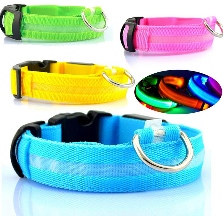 LED Nylon Ribbon Pet Dog Collar Luminous Light-up Flashing Safety For Cat  Electric Pets &