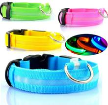 LED Nylon Ribbon Pet Dog Collar Luminous Light-up Flashing Safety For Cat  Electric Pets &