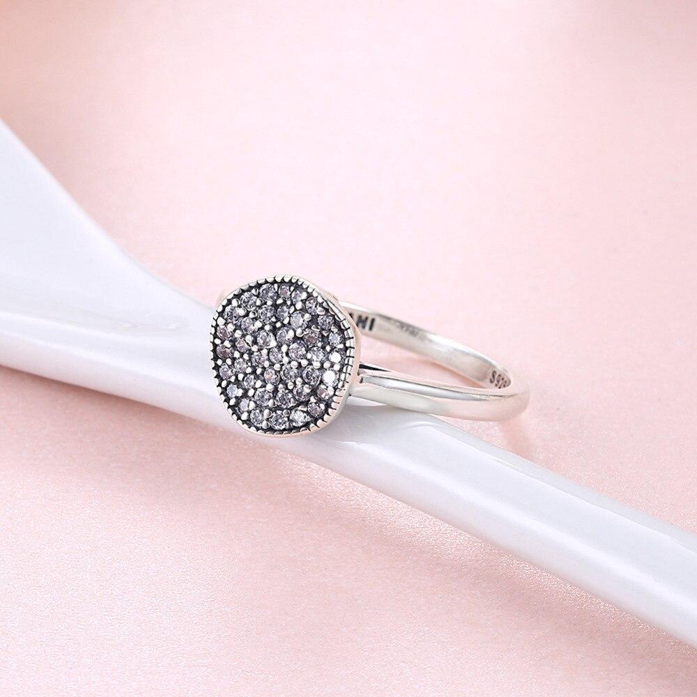 Hemiston 925 Sterling Silver Vintage Menghitam Melengkung Disc Cz Ghita Top Putih Wanita Cincin Kesederhanaan Perhiasan Untuk Ts R165 Di Rings Dari