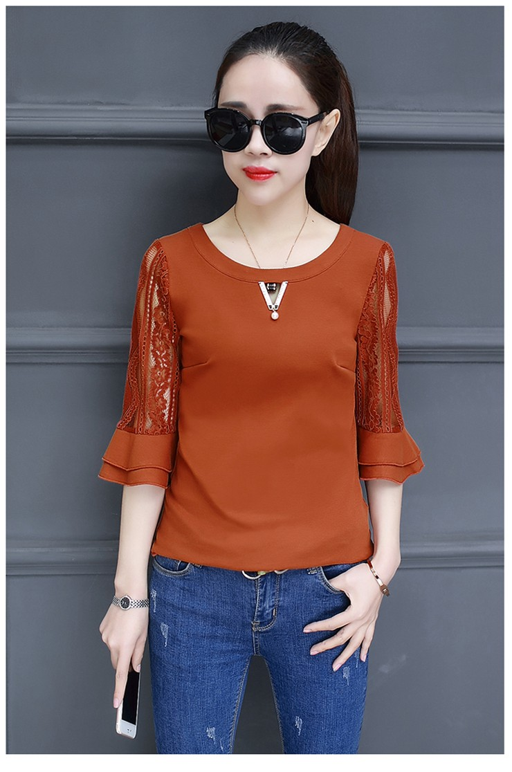 Women Blouse Summer Tops 2018 New Arrival Patchwork Blusas Mujer Lace Flare Sleeve Female Shirts Khaki Green Yellow  (2)