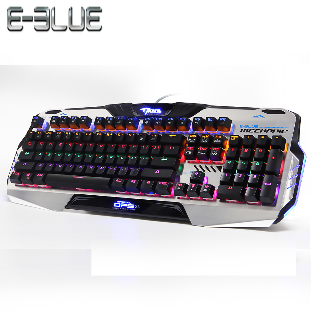 E-3LUE K729 Gaming Machanical Keyboard Colorful Backlit Aluminum Alloy Material Two-colored Key Cap Full N-key Rollover Function