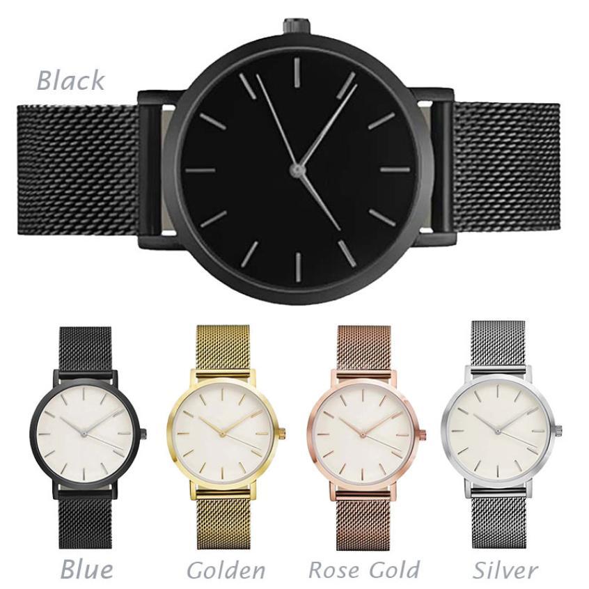 SALE Classic Unisex Lovers Minimalist Watch Stainless Steel Big Dial Simple Design Quartz Wrist Watch orologio uomo xfcs clock