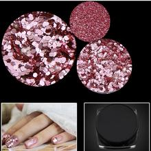 1 Box Rose Gold Pink Nail Glitter Sequin Powder Art Dust Fairy Manicure Decoration 1/128 (0.2mm)
