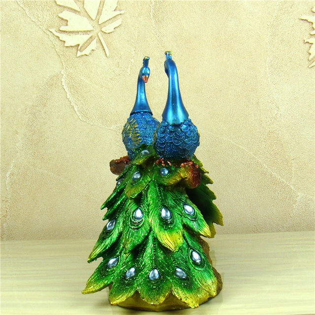 Online Shop Peacock Lovers Sculpture Handmade Resin Peafowl Couple