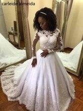 Vestido de Noiva com Mangas Compridas Vestidos de Casamento Do Vintage Cristal Belt Vestido de Noiva Apliques de Renda Boda bruidsjurken Sknia Slubna