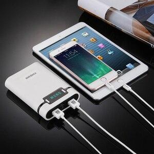 Image 4 - FELYBY taşınabilir güç bankası kutusu 18650 pil şarj aleti mobil güç kutusu ile LED ışık çift USB çıkışı ile cep telefonu için