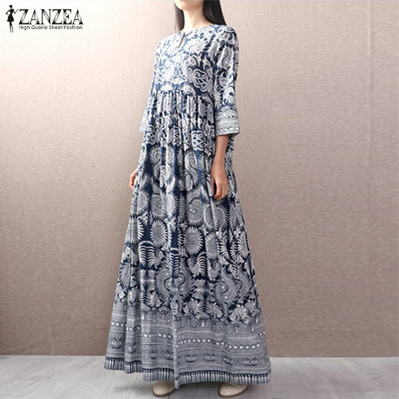 Women Geometric Long Maxi Dress Bohemian Vestidos 2019 ZANZEA Vintage Ladies Cotton Linen Vestido Casual Buttons Robe Femme 5XL
