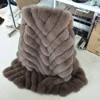 High quality Fashion New Style Real Fur Coat Winter Women Stripe Fox Fur Vest Real Fur Waistcoat 115cm Long Genuine Leather Coat
