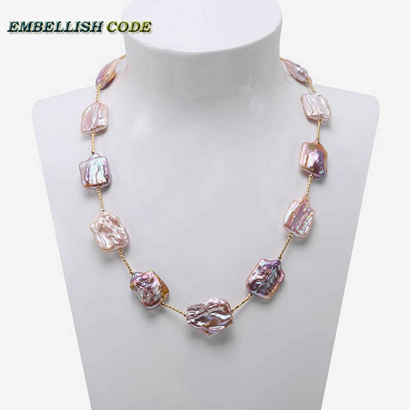 все цены на 2018 new big size baroque pearl peach or purple statement necklace square flat shape natural freshwater pearls rose golden beads