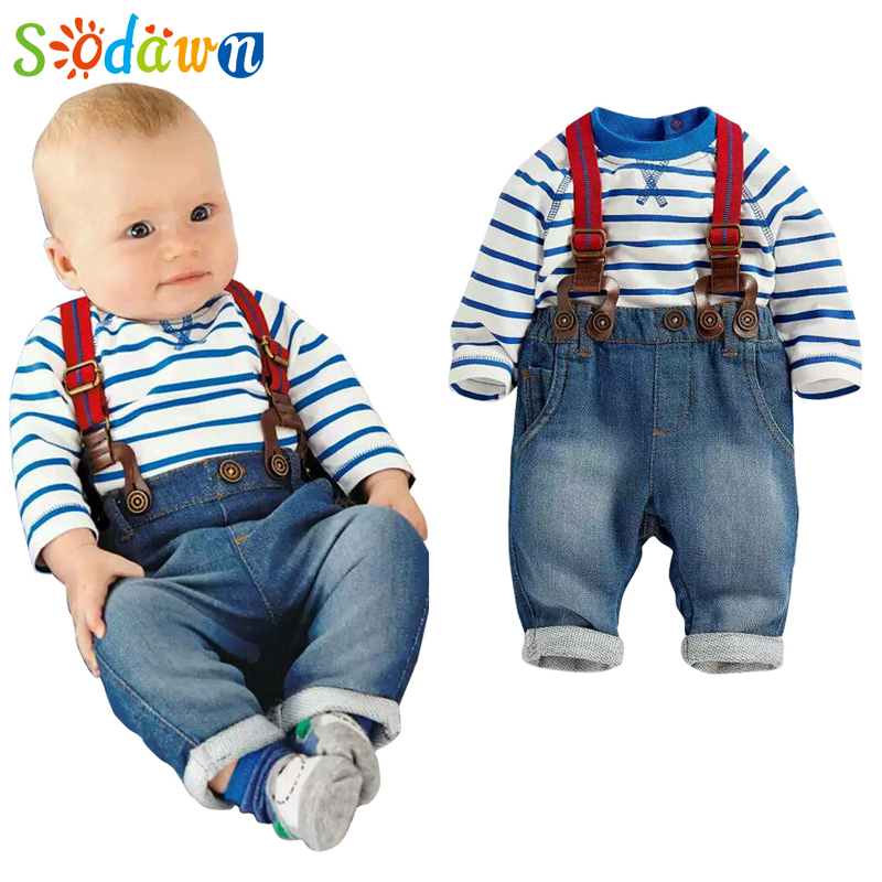 Sodawn Baby Clothing Set Cool Boys 3pcs Suit T shirt Pant Straps Autumn And Winter Infant