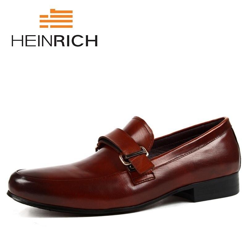 5a1c9eb44aa8a Genuino Boda brown Del Pie Italiano Hombres Heinrich Zapatos Puntiagudo  Formales De Dedo Transpirables Oxford Cuero ...