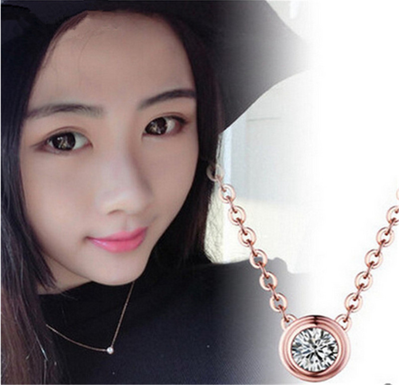 H:HYDE Top Quality Simple Style Crystal Pendant Necklace Rose Gold Color Fashion Jewellery Bijoux CZ Collar Choker Necklace