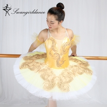 Lastest ! Canary Fairy Professional  Yellow Gold,Platter Plate  Skirt Performance Classical Ballet Tutu Costume For WomenBT9160