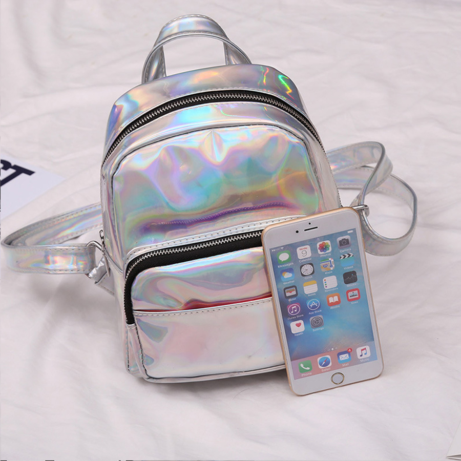 de99a00c1f30 Laser Dazzle Colorful Women Backpacks Gradient Color Jelly Backpack Women  Solid Reflective Bolsa Preppy Style Knapsack Females-in Backpacks from  Luggage ...