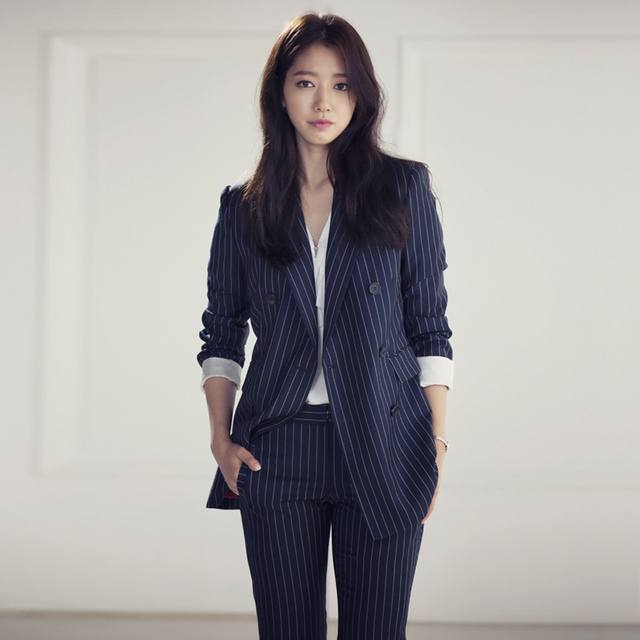 Double Breasted Striped Blazer and Cropped Pant Suit