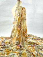 Fashion 140cm wide 8mm yellow Leopard chain flowers printed 100% mulberry silk chiffon fabric for dress shirt cloth scarf fabric
