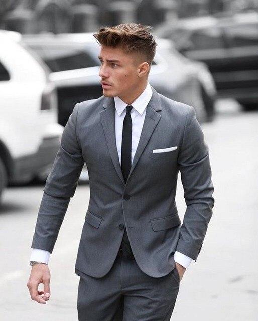 Hermoso gris oscuro negocios hombres trajes 2 unidades piezas trajes de  boda para hombres Slim Fit b180bcd9ad5