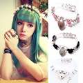 Kawaii Hot Sale Heart Choker, Double Spikes Clear Safe Heart Choker Flower Locket Key Collar Necklace