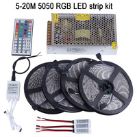 20 m LED רצועת 5050 RGB Waterproof 5 m 10 m 15 m IP65 קלטת + שלט רחוק IR 44key + מתאם מתח + מגבר ערכת