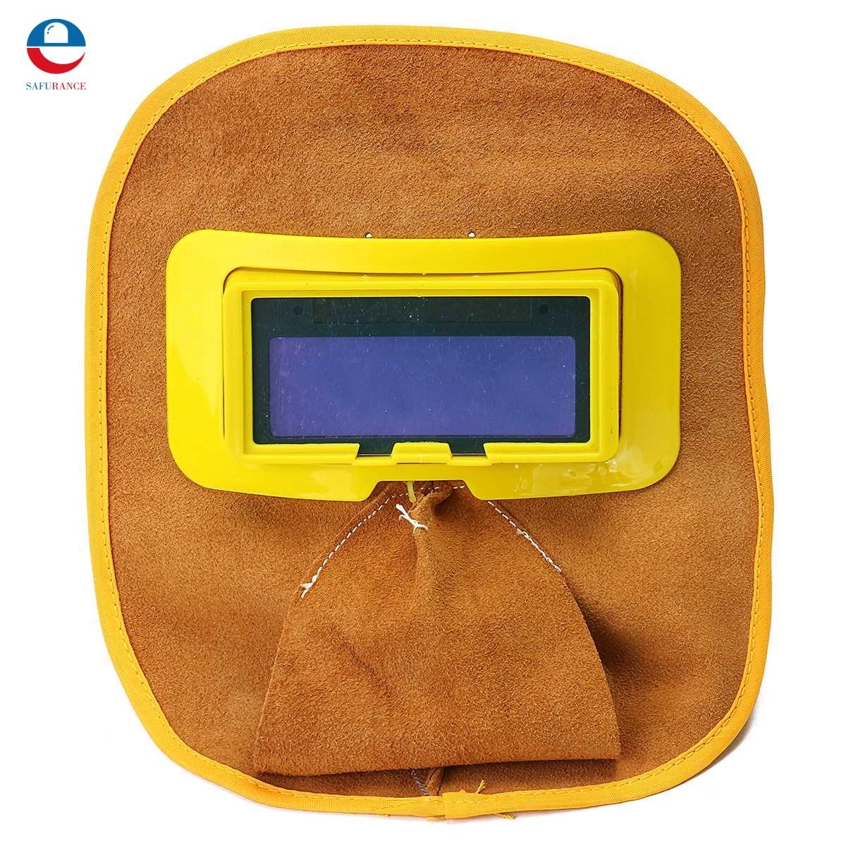 Protable Leather Welding Solar Auto Darkening Filter Lens Hood Helmet Mask safety protective mask  цены
