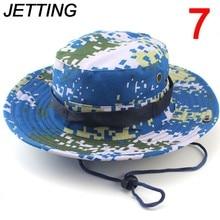 JETTING 1Pc kapelusze przeciwsłoneczne czapka mężczyźni kobiety kamuflaż kapelusz typu Bucket z sznurkiem rybak czapka wojskowa Panama Safari Boonie