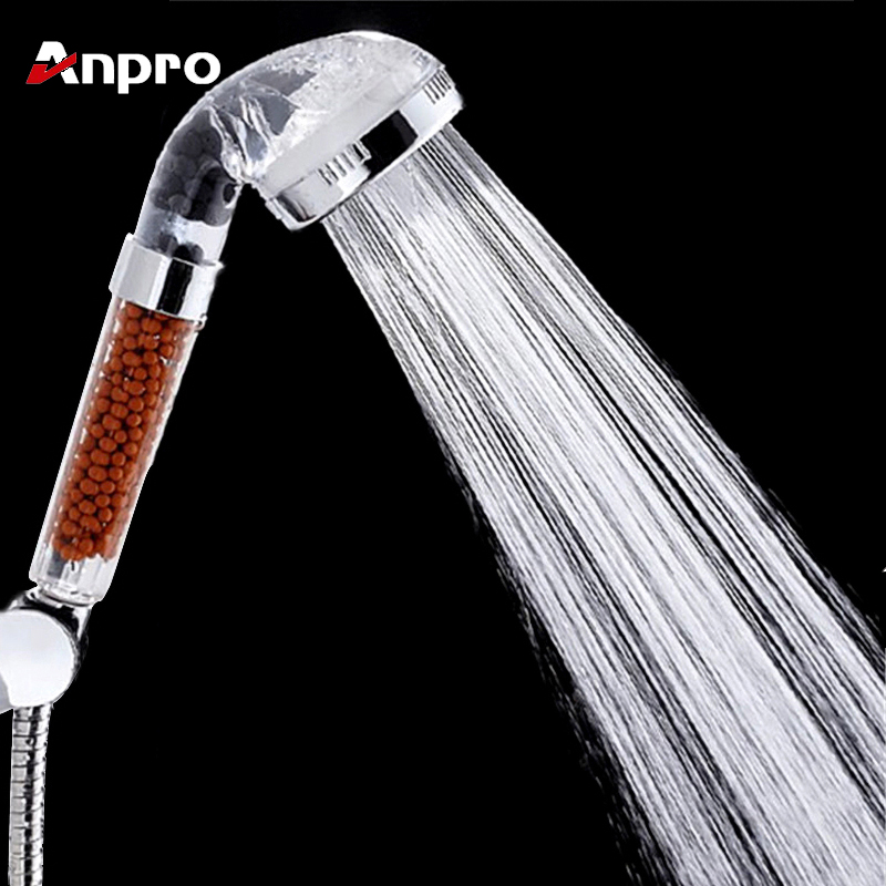 Anpro Water Therapy SPA Shower Bath Filter High Pressure Water Saving Rainfall Shower Head With Negative Ion Activated Balls