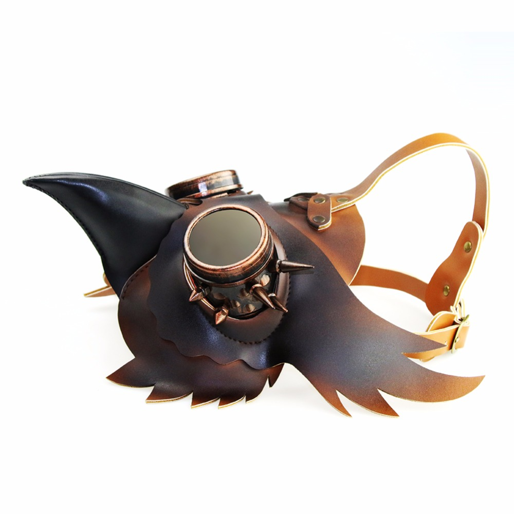 Gear Duke Retro Gold&Black PU Leather Steampunk Mask Women Men Punk Wings Rivets Halloween Cosplay Gothic Mask Props