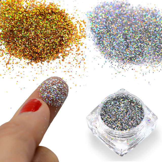 1g Nail Art Powder Dust Mixed Acrylic Hexagonal Sequin Glitter Tips ...