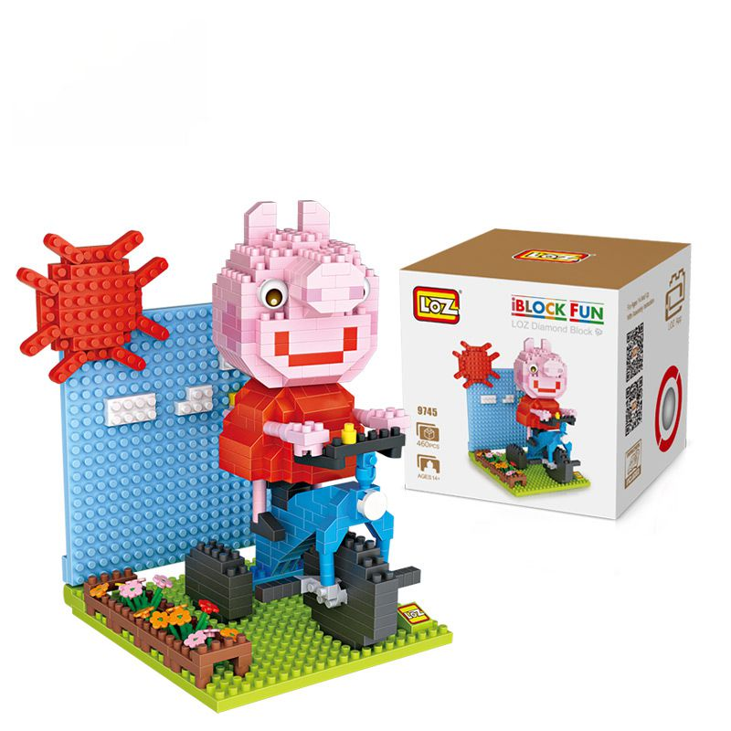 Big box Diamond Pig Peggy Bathroom Bathtub Gift Series Micro Block Anime Cartoon Toys Creative Bricks Building Blocks MOC 9744