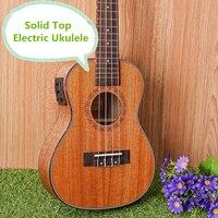 Solid Top Concert Acoustic Electric Ukulele 23 Inch Guitar 4 Strings Ukelele Guitarra Handcraft Wood Diduo Mahogany Plug in Uke