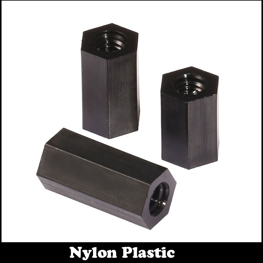 M3 M3*6 M3x6 M3*8 M3x8 Black Double Nut Nylon Plastic Female To Female PCB Stud Hex Hexagon Pillar Spacer Standoff Stand Off 50 pcs m3 7mm 6mm male female thread nylon pcb hex stand off screw spacer
