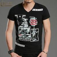 New Fashion Luxury Bronzing Print Men T Shirt Brand 2016 Fitness V Neck Short Sleeve Good