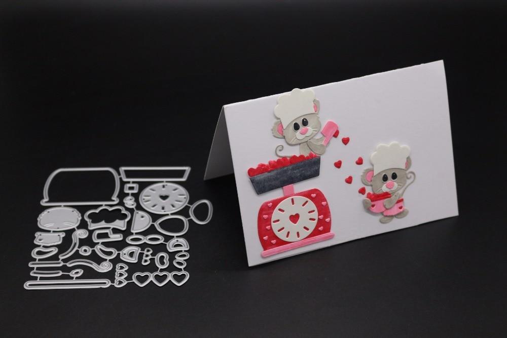 9.7x11CM  Kitchen Scale New Year Xmas Scrapbook Craft Frame Dies Metal Cutting Die 3D Stamp DIY Scrapbooking Card Photo Decor