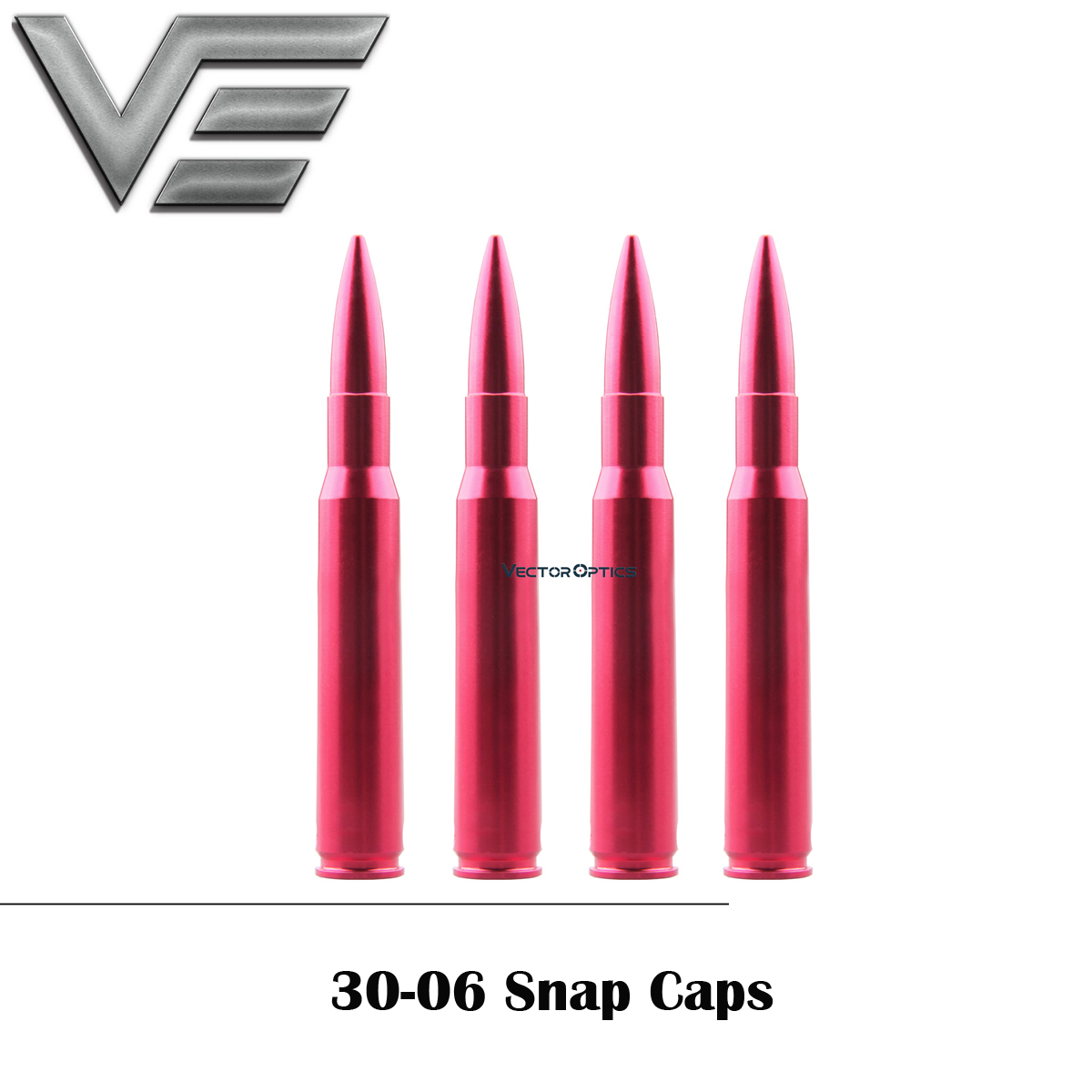 Vector Optics 30-06 Lapua Dry Fires Snap Caps For Training 4pcs Per Pack W/ Sling For Rifle Calibers Safety Training Round Metal
