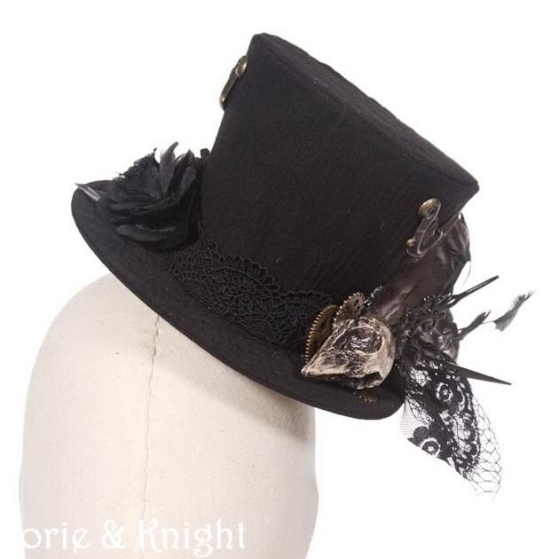 Vyrų gotikos juoda paukščių plunksna Steampunk viršų skrybėlę - Karnavaliniai kostiumai - Nuotrauka 3