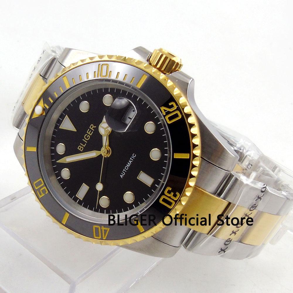 Golden plated BLIGER 40mm black dial sapphire glass ceramic MIYOTA Automatic movement men's watch men B122 цена и фото