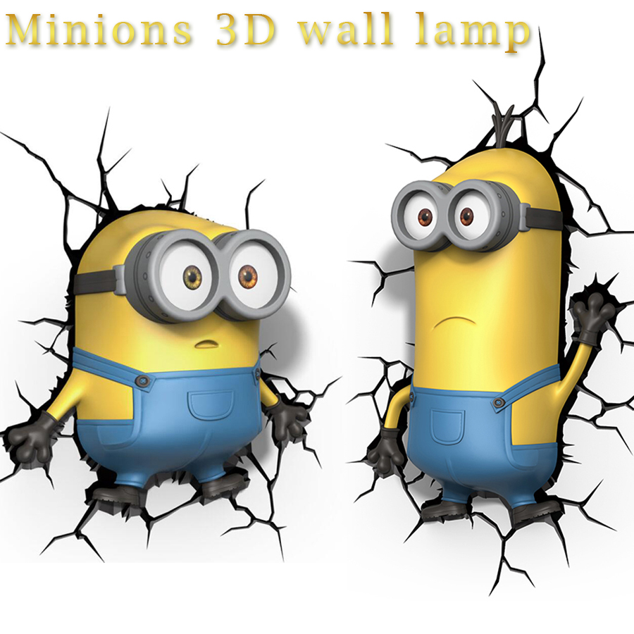 Creative 3D Cartoon Minions Wall Lamp Kevin Bob Stuart