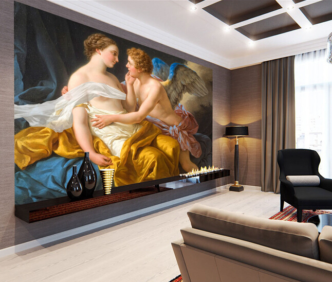 Custom retro wallpaper, psyche and Eros Angel painting for the living room bedroom TV background wall waterproof papel de parede