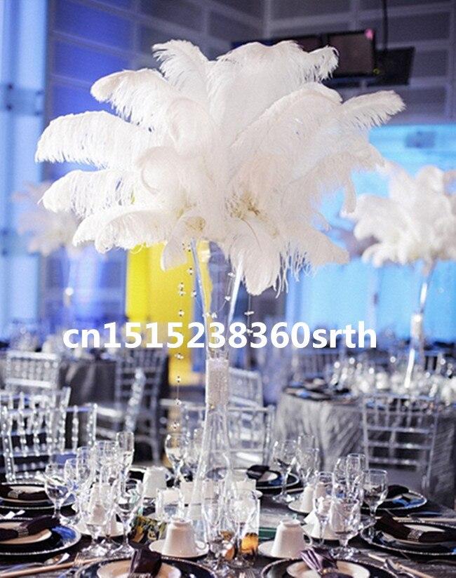 Hurtownie 200 sztuk jakości naturalne białe strusie pióra 16 18 cal/40 45 cm diy etap wydajność odzież akcesoria ślubne w Pióro od Dom i ogród na  Grupa 1