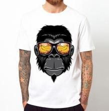 LUSLOS  Orangutan White Glass Funny humor Cartoon Causal Short T-Shirt