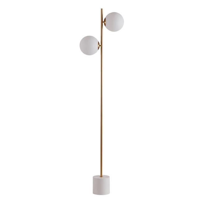 Post modern creative 2arm glass ball metal lamp body floor lamp Foyer bedroom study standing lamp white marble base E27 led bulb