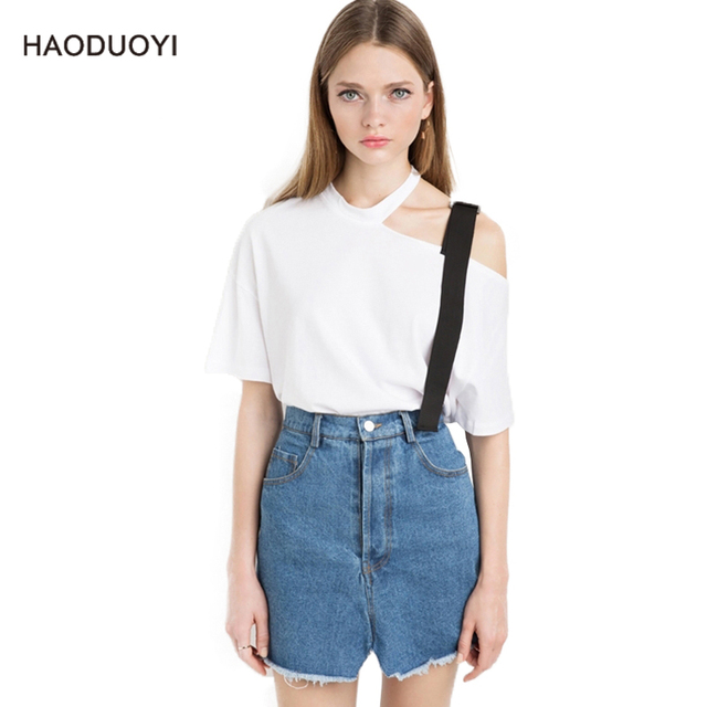 e890cf36653c 2019 Sexy White Hollow Out Off One Shoulder Top Women Short Sleeve Casual  Loose Preppy Style Asymmetric Ladies Halter T shirt