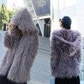 Монгольский Осень зима женщины Искусственного меха пальто с капюшоном/женские шуба/пальто с капюшоном/искусственного меха shaggy альпака ламы пальто