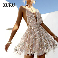 XURU new sexy sequin dress ladies club party strap backless gold black luxury nightclub