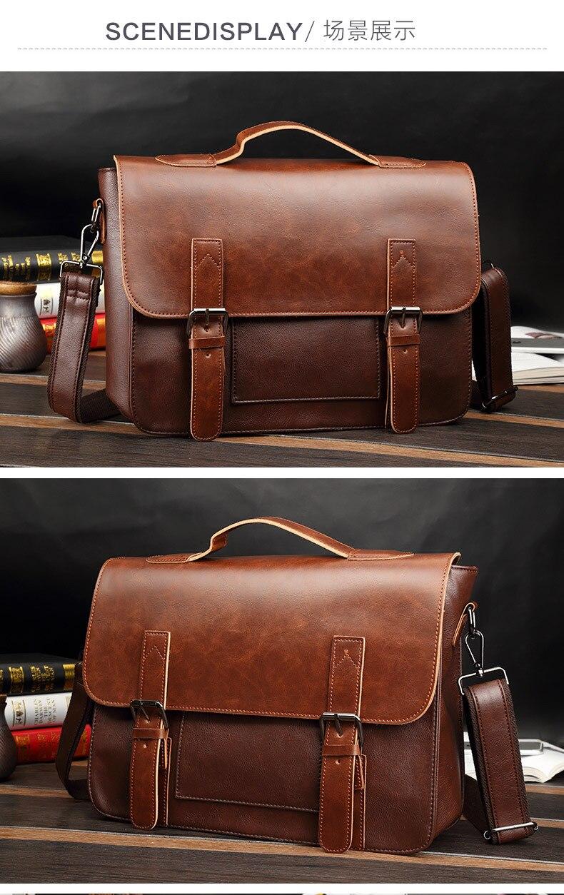 HTB1P113RY2pK1RjSZFsq6yNlXXaf Crazy Horse Artificial Leather Business Handbag Laptop Briefcases for Men Leather Casual Men Bag Messenger Shoulder Bags Man