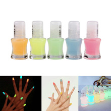 5.5ML Glow In Dark Luminous Nail Polish Makeup Neon Fluorescent Nail Art Varnish Yellow Pink Blue Orange Green 5 Colors #77104