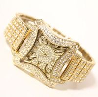 Envío de la Alta Calidad Famosa marca de Lujo de Las Mujeres de Señora Vestido Reloj Rhinestone Lleno de Cristal Brazalete de la Pulsera del encanto del grano