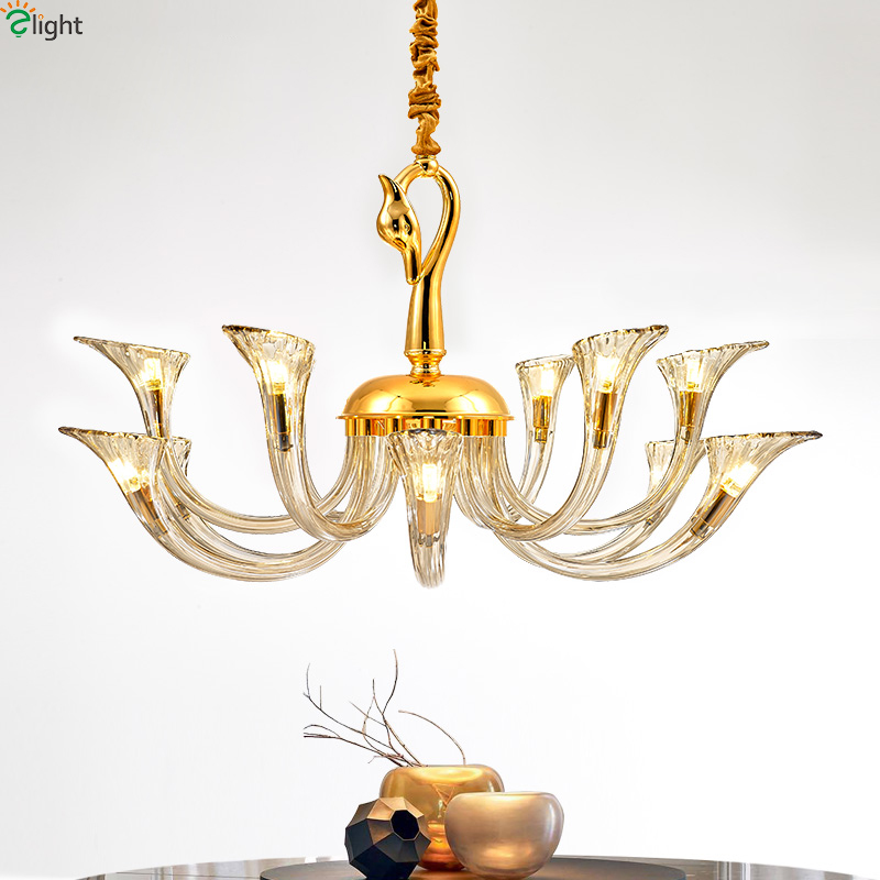 Modern Lustre Crystal Led Chandeliers Lighting Gold Metal Dining Room Led Pendant Chandelier Lights Foyer Hanging Light Fixtures